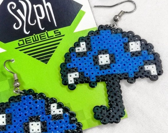 Blue Hmmbrella earrings with white polkadots