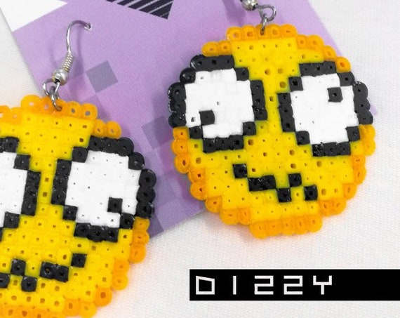 Dizzy emoticon earrings