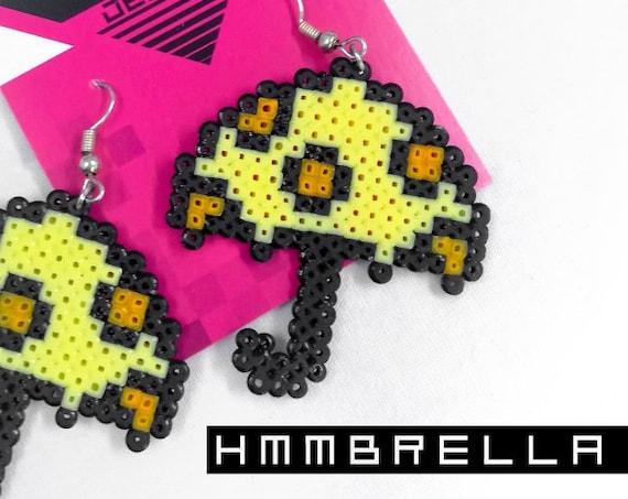 Yellow Hmmbrella earrings with orange polkadots