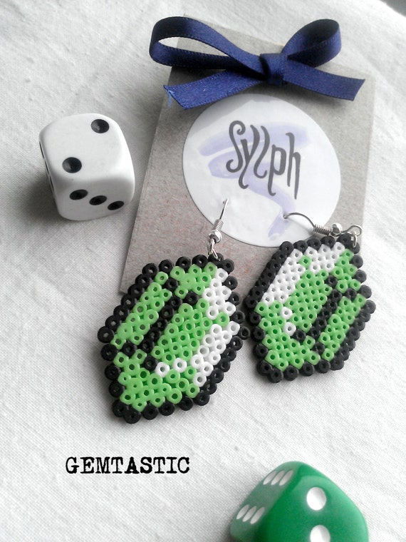 Pale green and white 8bit computer game inspired Gemtastic earrings made of Hama Mini Perler Beads
