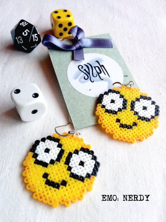 8bit emoticon earrings showing off that pixelated Nerdy vibe you've got going on, embrace the geek inside!