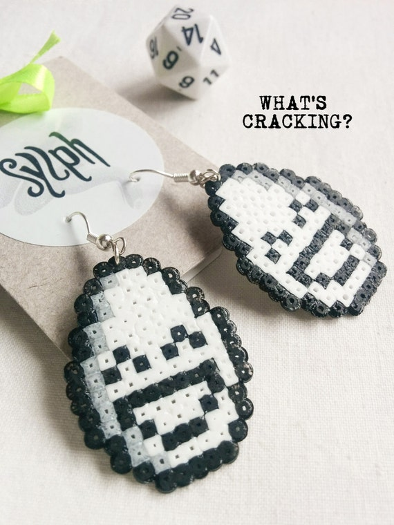 Hilarious What's Cracking Easter themed earrings made of Hama Mini Perler Beads in black and white