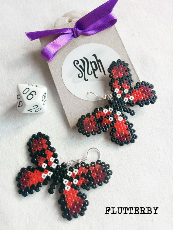 Red pixelated Flutterby earrings made of Hama Mini Perler Beads in 8bit retro gamer style, for those butterfly lovers!