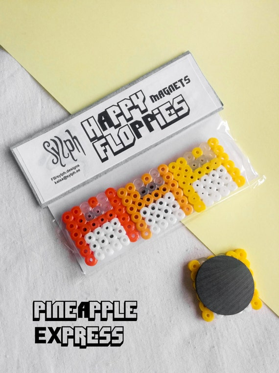 Pineapple Express, set of 3 Happy Floppies magnets made of Hama Midi Perler Beads in retro games' style for computer geeks!