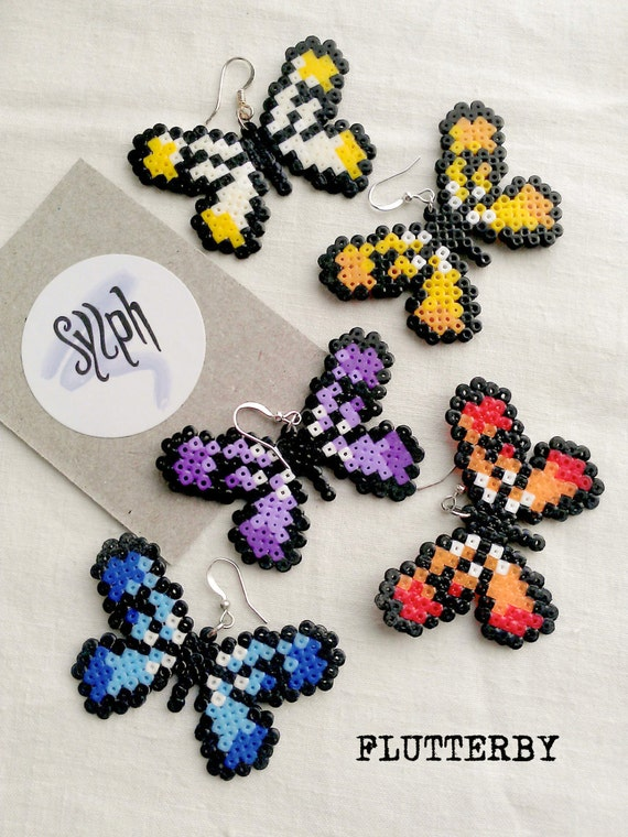 Earrings made of Hama Mini Beads - Flutterby (various colors)