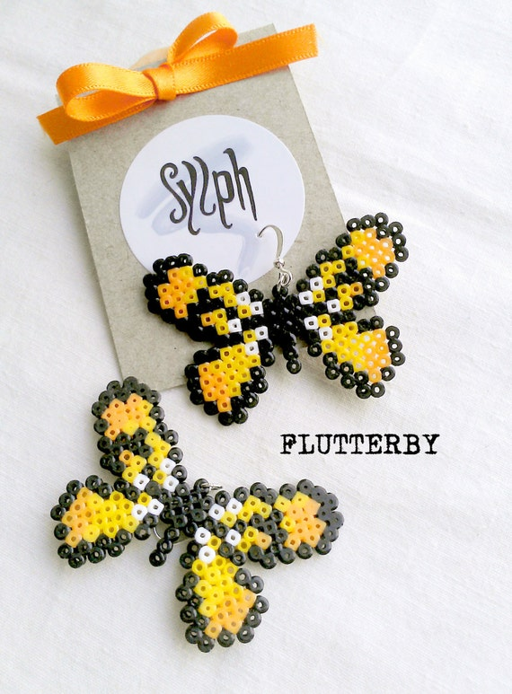 Yellow pixelart Flutterby earrings made of Hama Mini Perler Beads in 8bit retro games' style, for those butterfly lovers!
