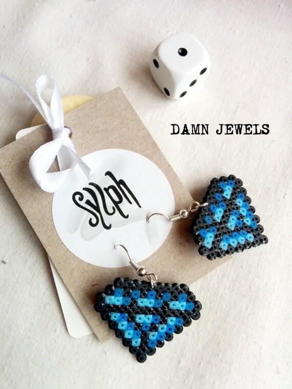 Pixelated 8bit diamond shaped Damn Jewels dangle earrings in shades of blue