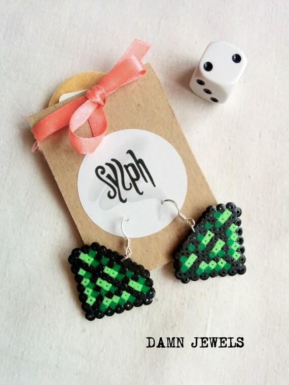 Pixelated 8bit crystal shaped Damn Jewels dangle earrings in shades of green