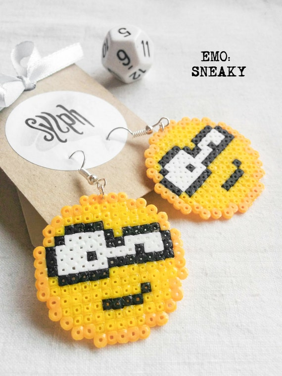 Sneaky pixelated 8bit emoticon earrings, embrace the geek inside with these pixelart beauties made of Hama Mini Perler Beads