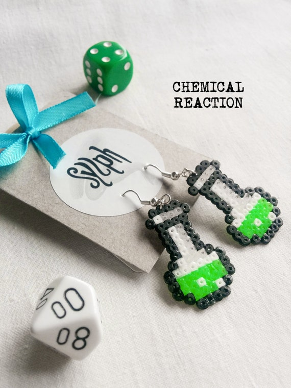 Neon green pixelated Chemical Reaction potion earrings for a biologist, chemist or a labrat