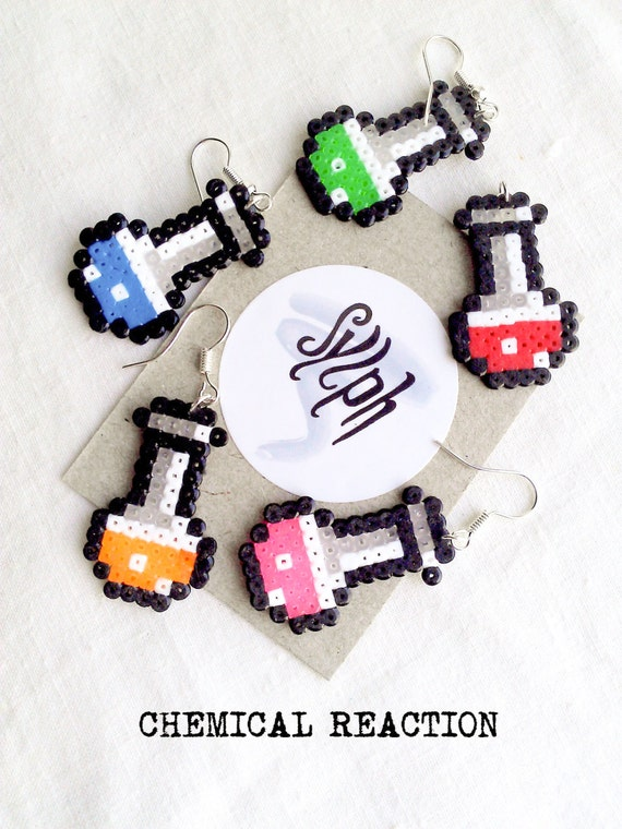 Earrings made of Hama Mini Beads - Chemical Reaction (various colors)