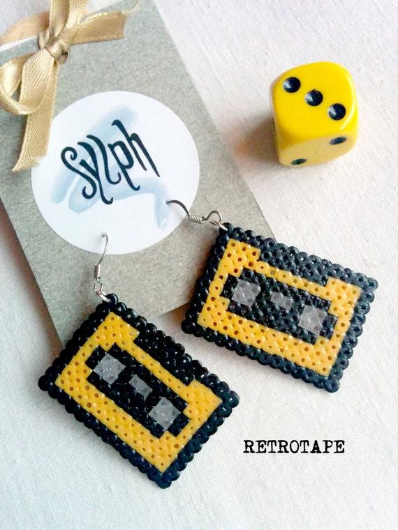Orange 8bit pixelart Retrotape cassette earrings made of Hama Mini Beads perfect gift for pixel-perfect music lovers