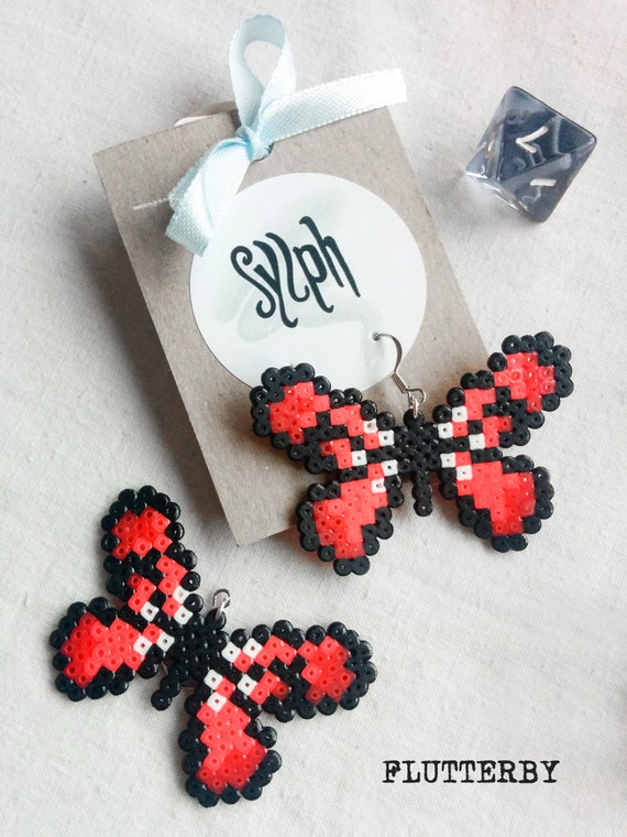Bright red and cerise pink 8bit Flutterby earrings made of Hama Mini Perler Beads for butterfly lovers and gamer girls!