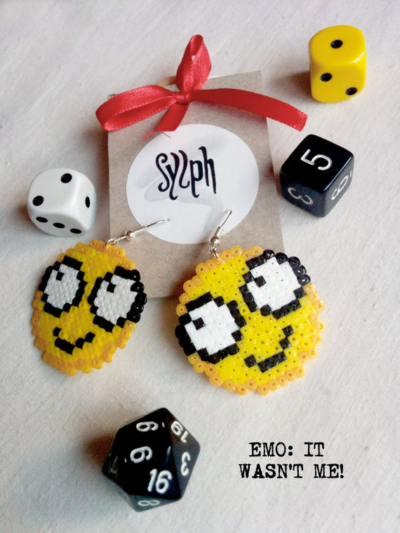 """Pixelated funny """"It wasn't me"""" emoticon earrings in 8bit retro style made of Hama Mini Perler beads"""