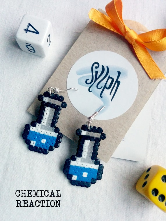 Geeky blue Chemical Reaction earrings made of Hama Mini Beads in a form of a chemistry lab vial, a pixel-perfect gift for a biochemist
