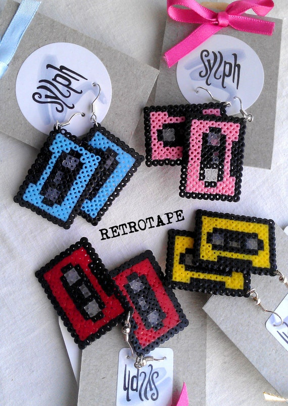 Earrings made of Hama Mini Perler Beads - Retrotape (various colors)