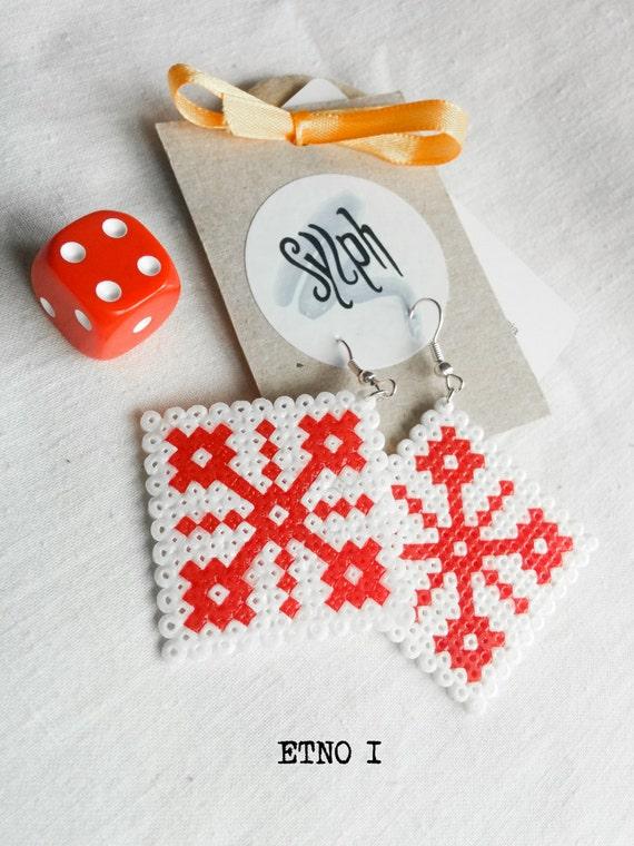 Earrings made of Hama Mini Beads - Etno I