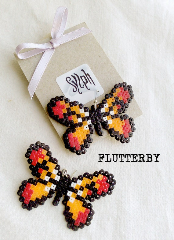 Orange pixelart Flutterby earrings made of Hama Mini Perler Beads in 8bit retro gamer style, for those butterfly lovers!