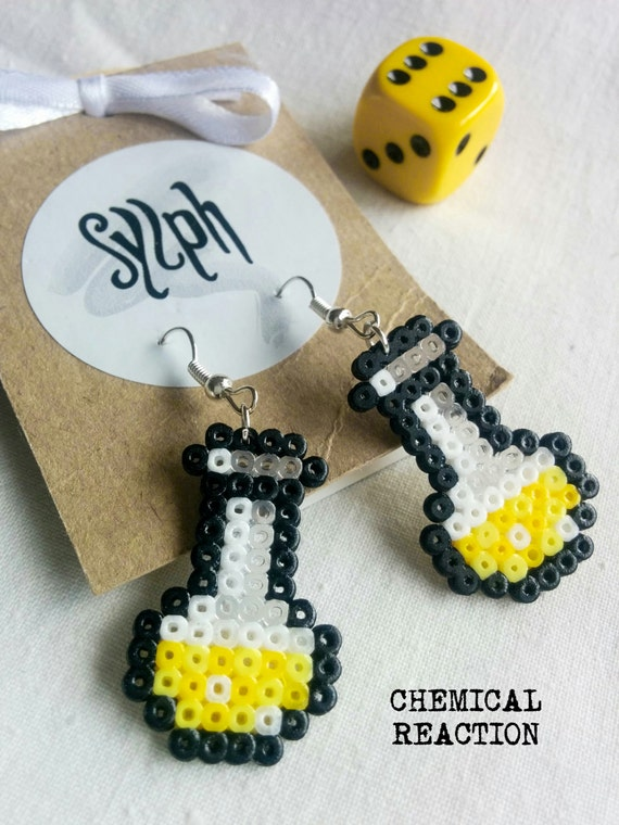 Chemical Reaction earrings in shades of yellow made of Hama Mini Beads in a form of a chemistry lab vial, a perfect gift for a biochemist