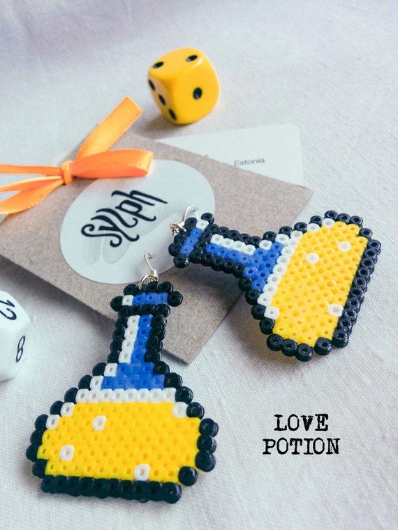 Yellow chemistry vial Love Potion earrings for gamer girls in oldschool 8bit games' style