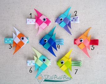 Angelfish Ribbon Sculpture Hair Clip, under the sea hair bow, One (1)