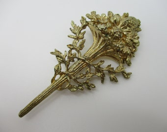 Gold Tone Autumn Fall Trumpet Style Brooch