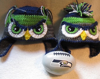 Crochet Mr or Mrs Seahawk Hats - Mohawk or Ponytails - Baby to Adult Sizes fb7f013b503