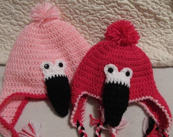 a0e3ca633d4 Crochet Pink Flamingo Hat with Ear Flaps and Braided Ties - can be made to  fit Baby to Adult Sizes - Made to Order