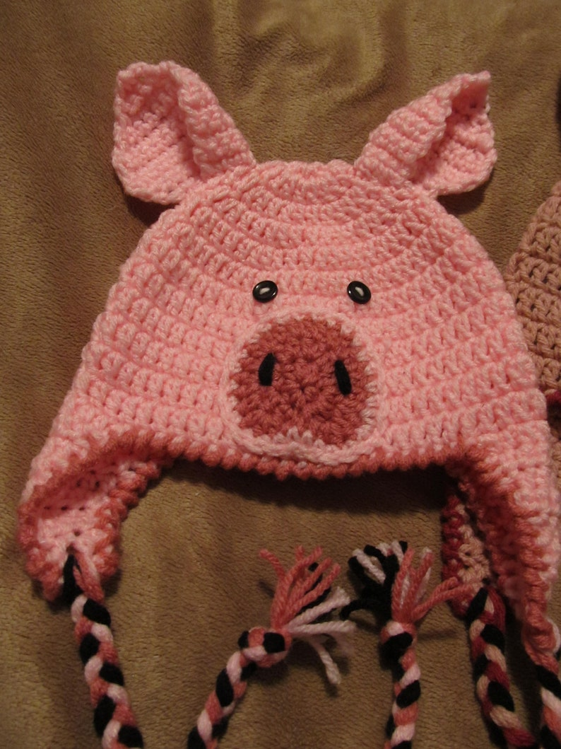 Crochet Little Piggy Hat with Ear Flaps Braided Ties AND ...