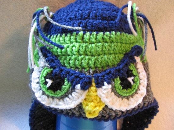 Baby to Adult Sizes Crochet Mr OR Mrs Seahawk hat with Mohawk OR Ponytails