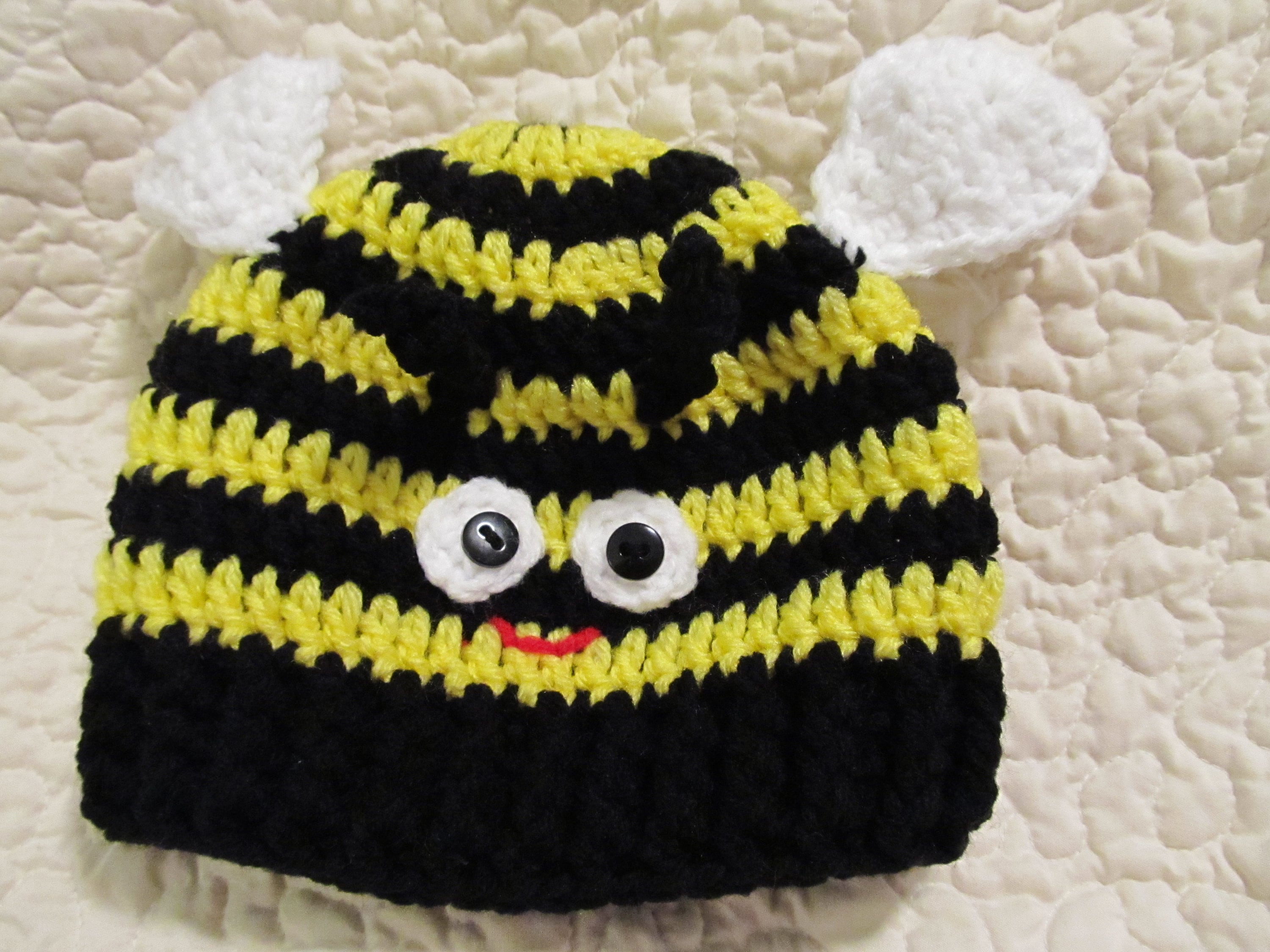 Crochet Bumble Bee Hat With Wings Baby To Adult Sizes Made Etsy