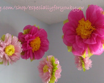 1st Birthday Decorations 5 Tissue Paper Pom Poms Flowers