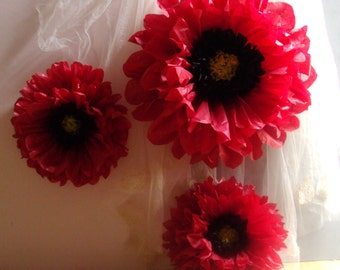 Red Poppy - 3 Giant Paper Flowers - Perfect Decorations for Wedding,Birthday Party&Baby Shower