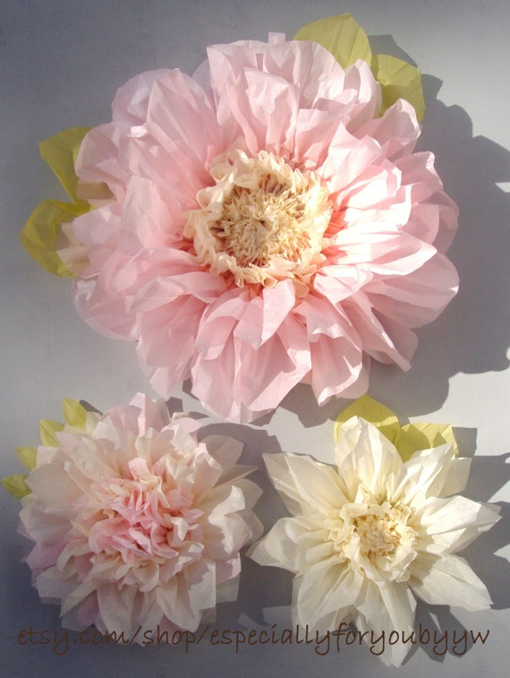 Set of 3 giant paper flowers light pink perfect decorations etsy image 0 mightylinksfo