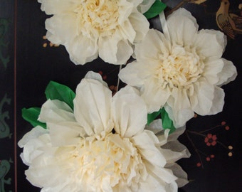 Set of 3 Giant Paper Flowers (Vanilla)- Perfect Decorations for Wedding,Birthday Party&Baby Shower