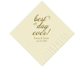 Beverage Napkins~100 Best Day Ever with Hearts