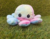 Light Pastel Tie Dye Emotions Reversible Octopus Plush Happy Angry Plush Pastel Octopus Plush Kawaii Plush Tik Tok Reversible Octo
