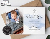Baptism thank you card, Christening thank you card template, editable Card, Baby Boy baptism, Baptism Card, Printable Thank you card, Rocco