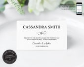 Editable Place Card Template, Wedding Place Cards, Tent Card, Name Card, Table Card, Engagement, Birthday, place card, Cassandra