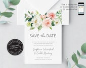 Blush Pink Floral Save the Date, eucalyptus, Wedding Invitation template, Printable, Invitation, Floral Watercolor, botanical, Stephanie
