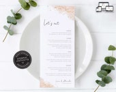 Rose Gold Watercolour Menu Template, let's eat, blush, gold, Editable Menu, Wedding Menu, Birthday, Christening, Baptism, Dinner menu, Liana