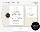 Pocket Wedding Invitation Suite, Wreath, Monogram, Wedding Invitation template, Printable, Editable, pocketfold, pocket folio, Ashley