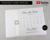 DIY Editable Template Printable for the 'Ania' Calendar style save the date card, invitation, wedding, embossed, elegant, Ania