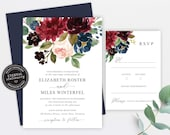 Floral Wedding Invitation, Wedding Invitation template, Wedding Invitation Printable, Editable, Navy and burgundy watercolor, Elizabeth