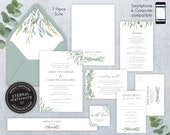 Editable Wedding Invitation Suite, Wedding Invitation template, Printable, Editable, leafy, Floral Watercolor, eucalyptus, Missy