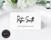 Editable Modern Calligraphy Place Card Template, Wedding Place Cards, Tent Card, Name Card, Table Card, Place Card, Engagement, Peyton