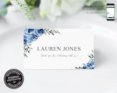 Blue Rose Watercolor Place Card Template, Navy, Wedding Place Cards, Name Card, Table, Floral, thank you card, Watercolour Flowers, Lauren