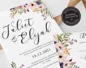 Boho Wedding Invitation Template, Floral Wedding Invitation template, Printable, Invitation, Editable Invitation, watercolor, boho, Juliet