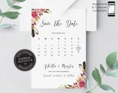 Editable Calendar Save the date card, Floral, Save the Date, watercolour, template, Printable, Invitation, save our date, flowers, Abella