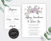 Floral Wedding Invitation Template, Wedding Invitation template, Invitation Printable, Invitation, Editable Invitation, watercolor, Tiffany